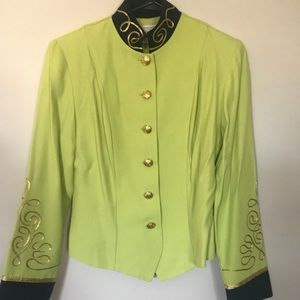 Embellished lime and navy jacket